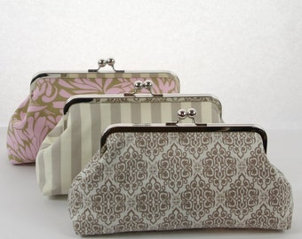 Set of 3 Bridesmaids Gifts, Personalized Wedding Clutch Bag, Personalized Bridal Party Gifts - SALE