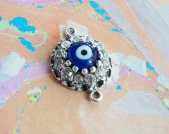 Rhinestone Evil Eye Connector Pendant