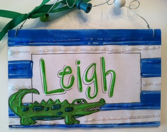 Hand personalized alligator and stripes name room sign perfect for cute nursery or kids room