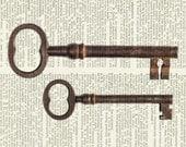 keys - antique keys print