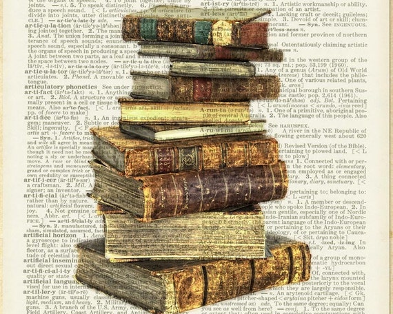 Stack Of Antique Books Print On Vintage Dictionary By Fauxkiss