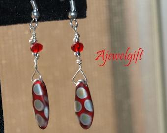 Dangling Red Polka Dot Playful Earrings 13021