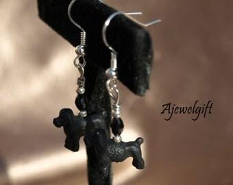 Black Poodle Earrings 13032