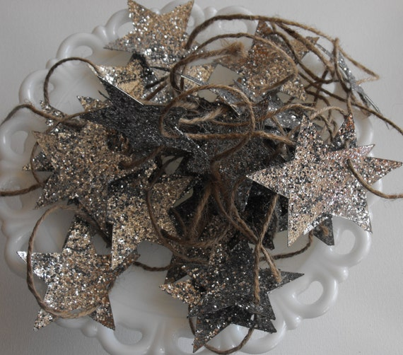 Recycled Star Garland Glitter Silver Wizard of Oz Glenda Good Witch Magic