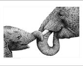 Wildlife Open Edition Giclee Print of an African Elephant and Baby