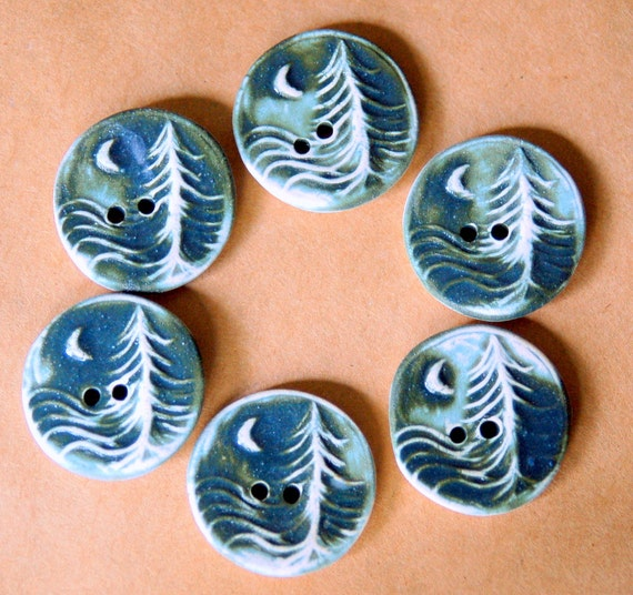 6 Handmade Ceramic Buttons - Moon over Cedars Buttons in Denim Blue Stoneware