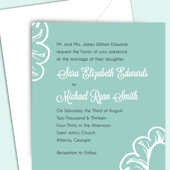Wedding Invitation Package Floral Customized DIY