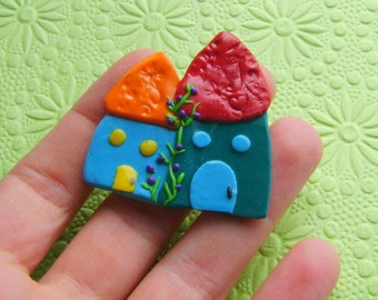 Polymer Clay House with flowers Brooch or Magnet