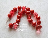 Lady in Red  - Girls Pearl Chunky Necklace - Photography Prop for Toddlers