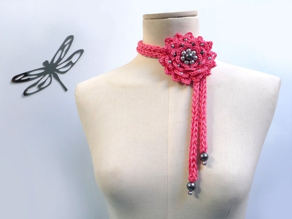 RESERVED - Crochet Cotton Flower Necklace / Lariat - Spring Pink Flower with Grey Pearls - FULL BLOOM