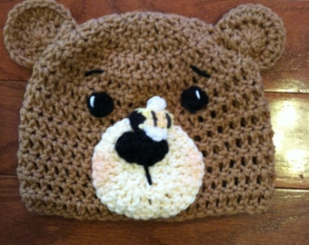 Bear with Bumble Bee Crochet Beanie Skullcap Hat-cute photo prop