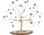 Tanzanite and Gold June Birthstone Tree Sculpture Swarovski Crystal Elements