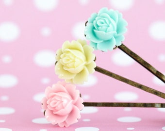 Floral Bobby Pins, Flower Hair Pins, Flowergirl, Gift  For Girl, Floral Accessories, Hair Accessory, Gift For Woman, Mothers Day Gift