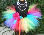 "Girls Tutu - Rainbow Birthday Tutu - Imagine - Sewn 8"" Infant Pixie Tutu - up to 12 months - Baby Toddler Tutu Skirt"