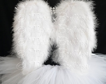 """Angel Tutu Costume w/ Halo - 11"""" Tutu, Small Angel Wings, and Halo, Christmas Angel Costume For Girls, Babies, Toddlers"""