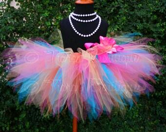 Tutu, Girls Tutu, Birthday Tutu, Toddler Tutu, Tutu Set,  Tropical Mix, Pink Orange Yellow Blue, 11'' Rainbow Pixie Tutu, girls sizes 6 to 8