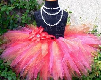 "Girls Tutu - Red Hot Pink Orange - Sewn 8"" Pixie Tutu - up to 12 months - Baby Toddler Girls Tutu Skirt - For Elmo Birthday Themes"
