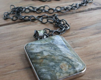 Sale -15% off!! Rainforest Thunderstorm - Jasper  Pendant  on Long Gunmetal Chain