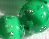 Handmade Glass Lampwork Beads, focal filler art bead Green/Pure Silver 11mm round