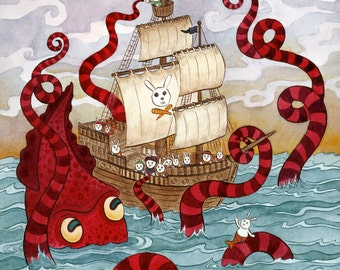 "Giant Squid Kraken Pirate Ship Art Print 11"" x 14"""