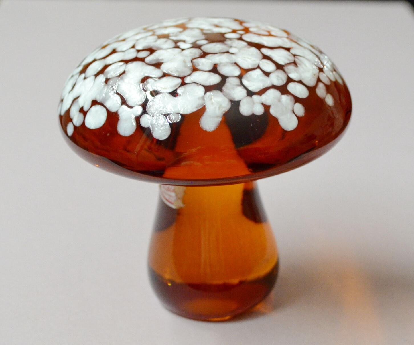 Vintage Mid Century Glass Mushroom Art Speckled Spots Amber