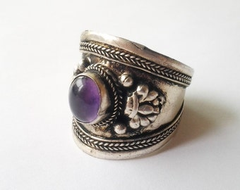 Vintage Purple Moonstone and Sterling cigar cuff Ring large Goth Punk Biker 10 11 12