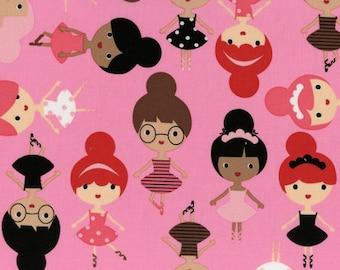 Girl Friends Ballerina by Ann Kelle Fabric by Robert Kaufman in Bubble Gum Pink,Yard