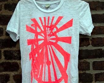 Bicycle Art Cycling Print Fixie  - Sunburst Track Bike Burnout T Shirt