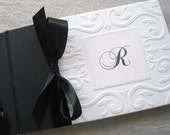 Wedding Guest Book Black and White Monogram Classic Style Personalized