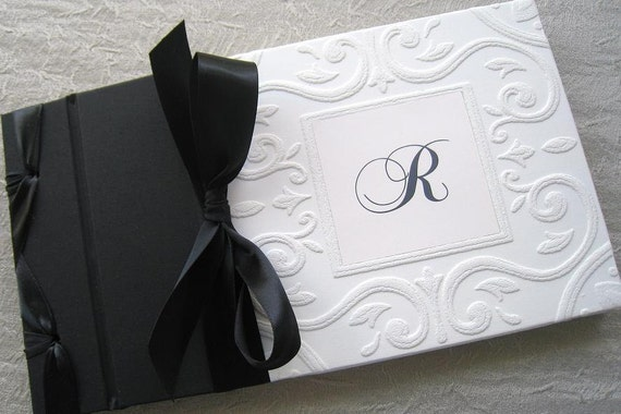 wedding guest book black and white monogram classic style