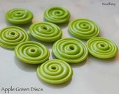 10 Apple Green Slim Discs , handmade glass beads in vivid green color  beads by Beadfairy Lampwork, SRA
