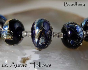 5 Ink Blue Hollows with golden glass shards Handmade Lampwork Beads by Beadfairy Lampwork