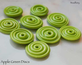 10 Apple Green Slim Discs , handmade glass beads in vivid green color  beads by Beadfairy Lampwork, SRA