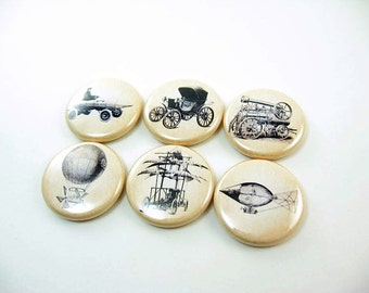 6 Travel Machine Fridge Magnets - airplane or car - Home Living, Kitchen, Organization, sepia or white background 1194