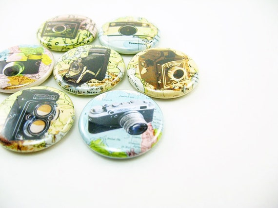 7 Camera Magnets, photography fridge magnets, maps, travel, refrigerator magnets, vintage cameras,  magnabilities 1122