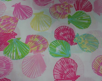 "Lilly Pulitzer fabric ""CLAM DIGGER""  100% cotton  18 in x 18 in"