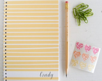 watercolor stripes personalized notebook - choose your color