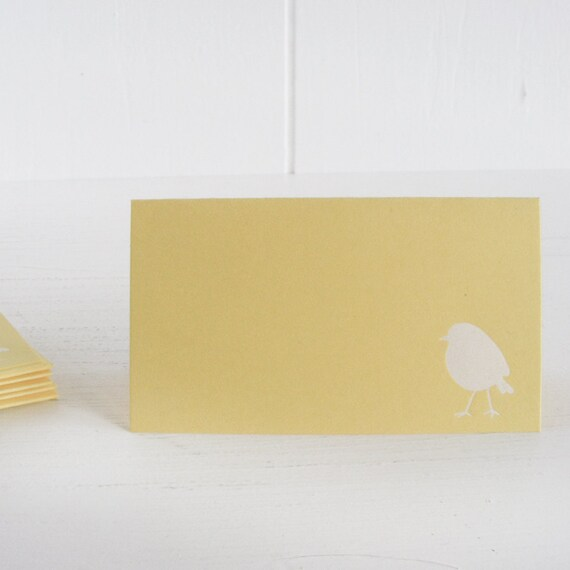 butter yellow bird place cards