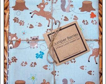 Sky Blue Fox Trails Pair of Reversible Cloth Lunch Napkins
