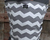Baby Sling Wrap Carrier-ORGANIC COTTON  Baby Wrap Sling Carrier-Gray Chevron on Gray-Newborn to Toddler-DvD Included
