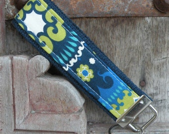 READY TO SHIP-Beautiful Key Fob/Keychain/Wristlet-Boho on Blue