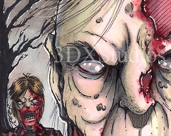 Zombie - Signed Original ACEO / PSC by George Deep
