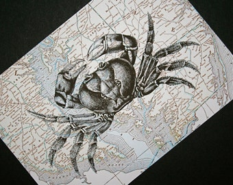 Crab Print - Chesapeake Bay Map Print - 5 x 7 Seashore Print - Maryland and Delaware - Seashore Art