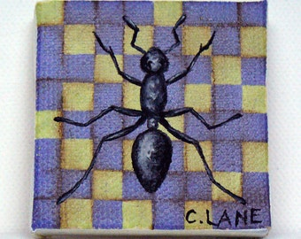 Ant-Tiny Original Oil Painting 2 x 2 inches