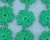 12 green thread crochet applique shamrocks --  1702