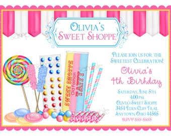 Candy Birthday Invitations, Sweet Shop Invitations, Candy Shop Invitations, Old Fashion Candy Shoppe, Lollipop invitations,Birthday Party