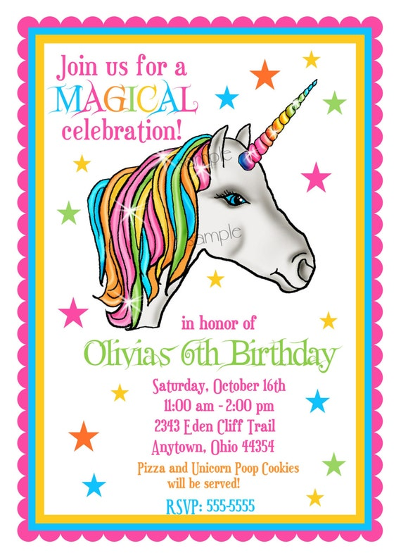 Unicorn Invitations Unicorn Birthday Party Invitations