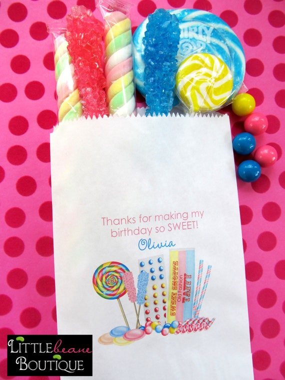 Personalized Candy Bags, Old Fashion Candy Favor bags,Candy Buffet favor bags, Birthday party, Sweets, Treat bags