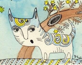 Carrol Cat ACEO original