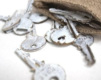 Pocketful of Keys - 10 distressed white keys
